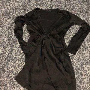 Black high split dress